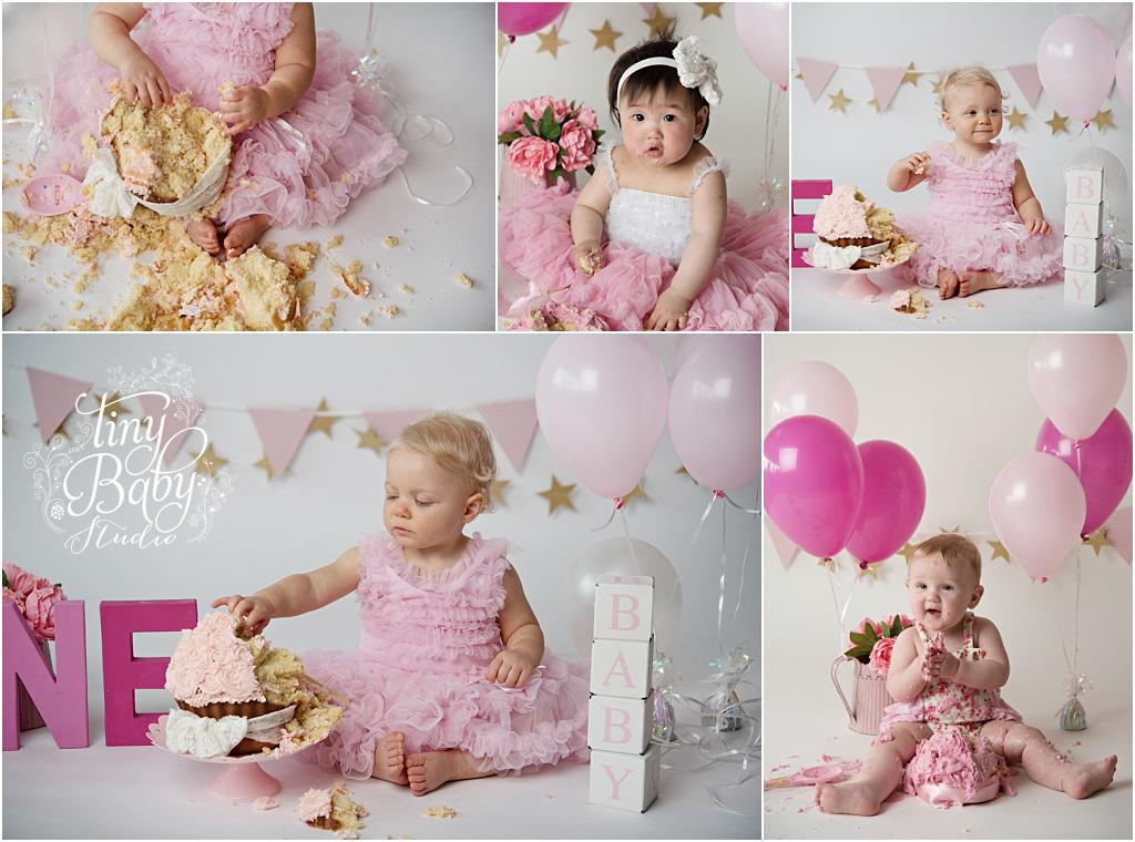 Tiny Baby Studio Newcastle Newborn Baby Photographer Pink Cake Smash