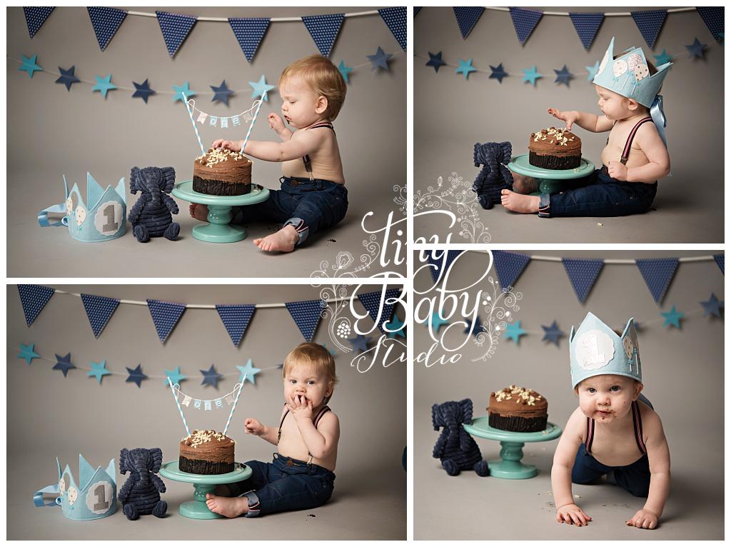 Tiny Baby Studio Baby Photography Cake Smash session