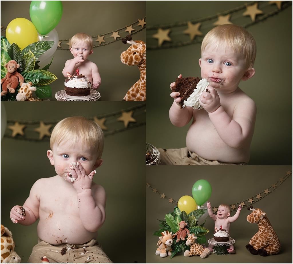 Tiny Baby Studio Newcastle Cake Smash for First Birthday Boys Jungle