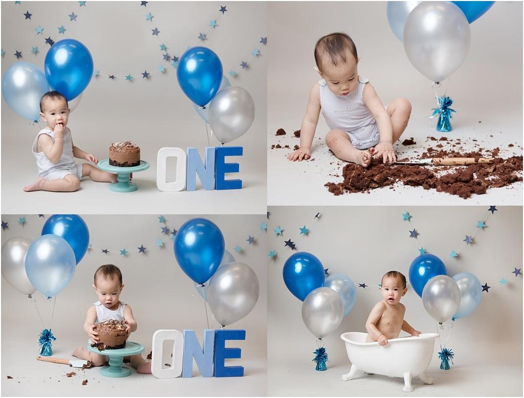 Tiny Baby Studio Newcastle Newborn Baby Photographer blue cake smash first birthday
