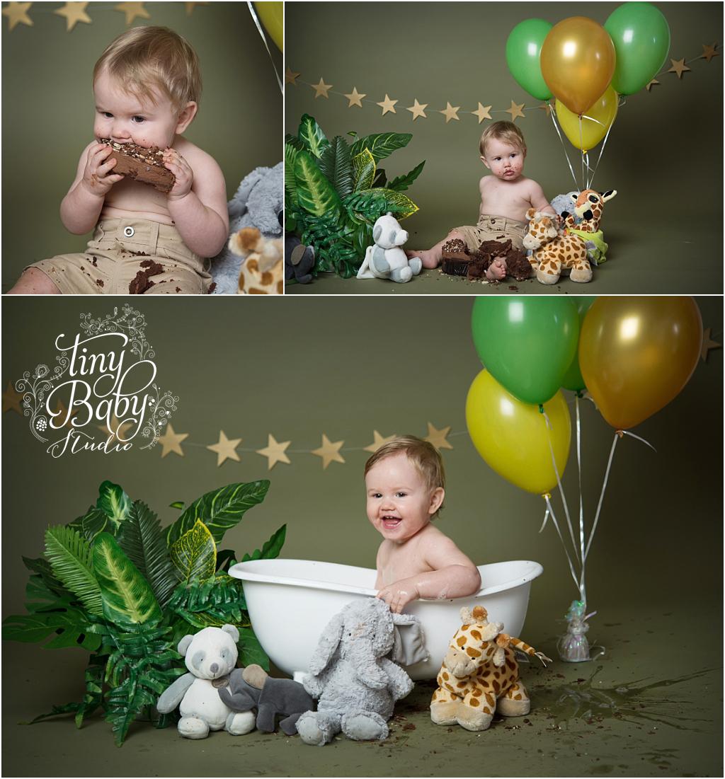 Tiny Baby Studio Newcastle newborn baby photographer cake smash