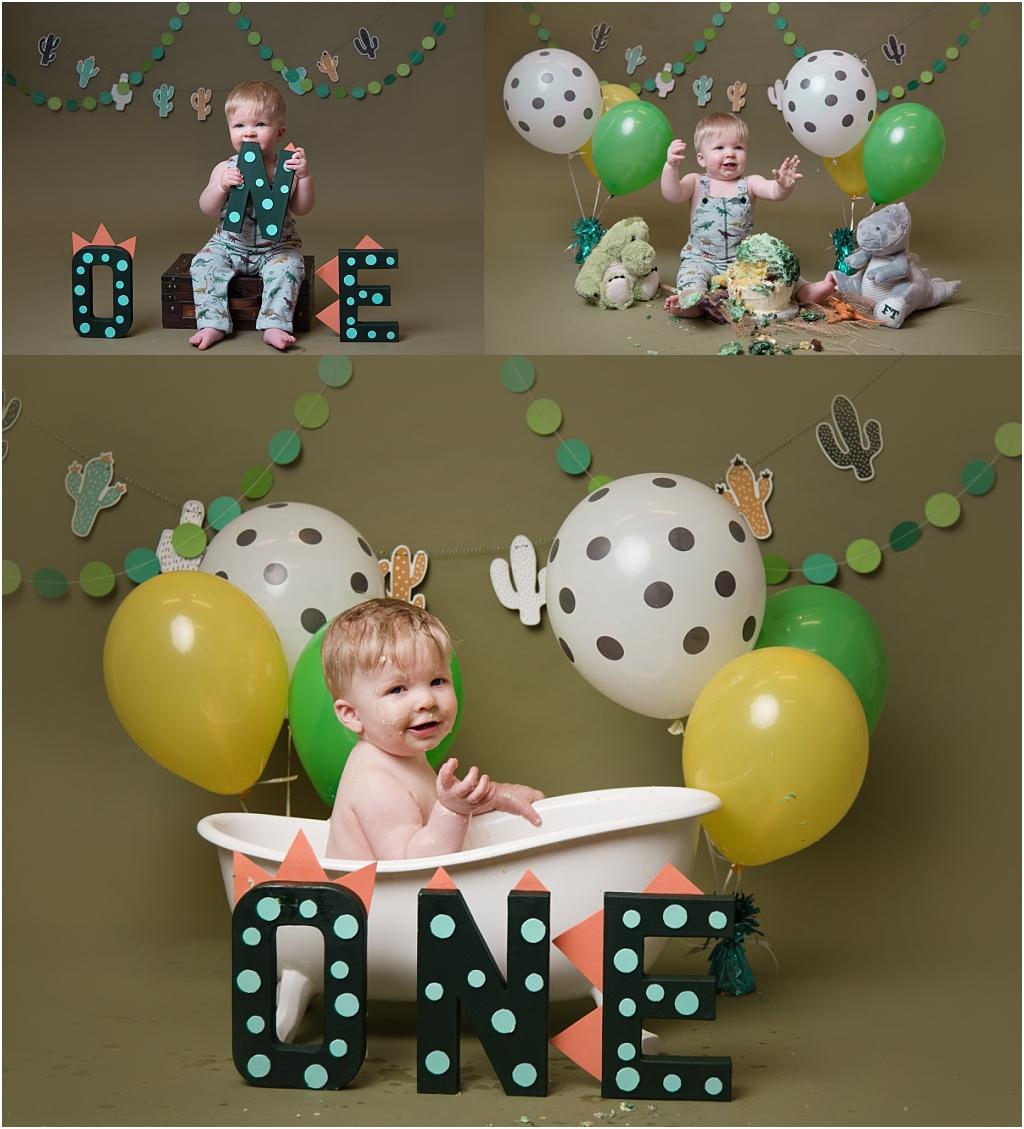 Tiny Baby Studio Newcastle Newborn Baby Photographer dinosaur cake smash