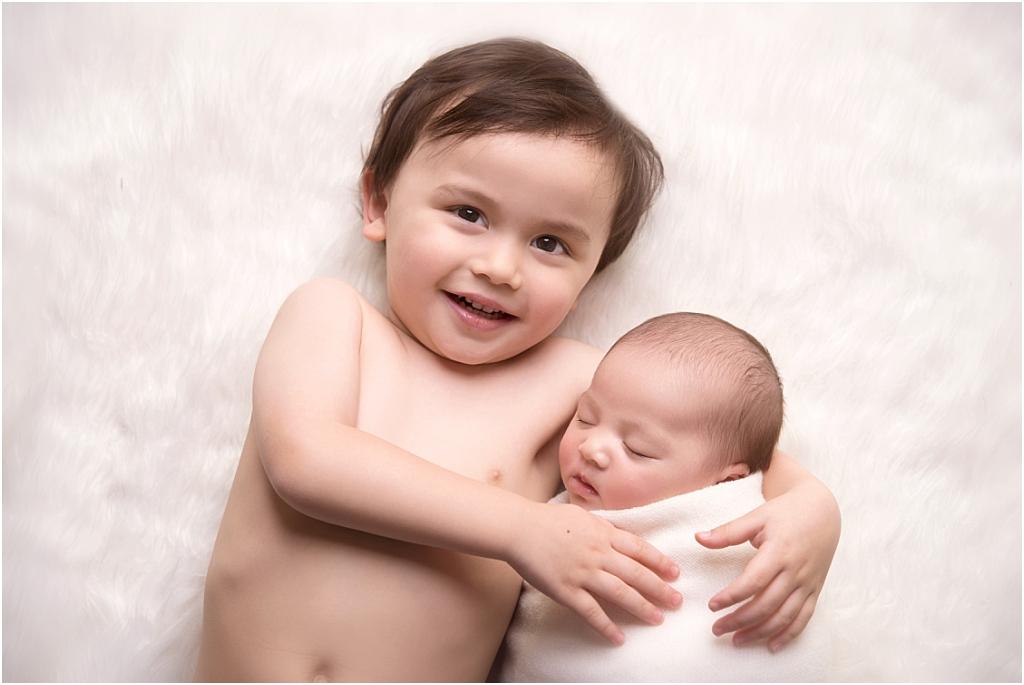 Tiny Baby Studio Newcastle Newborn Baby Photographer Wrapped Baby Big Brother