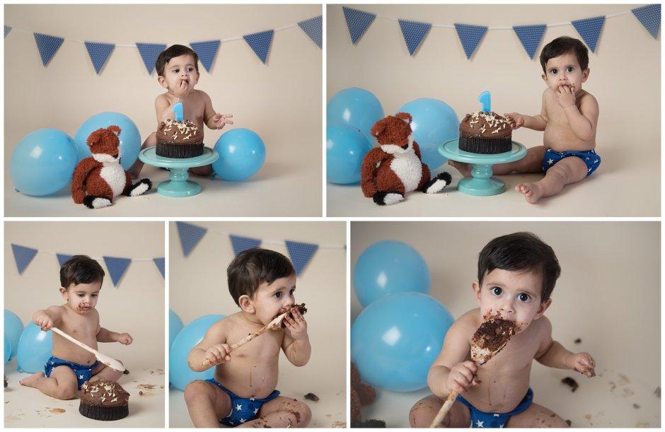 Tiny Baby Studio Newcastle Newborn Photographer Boy Cake Smash