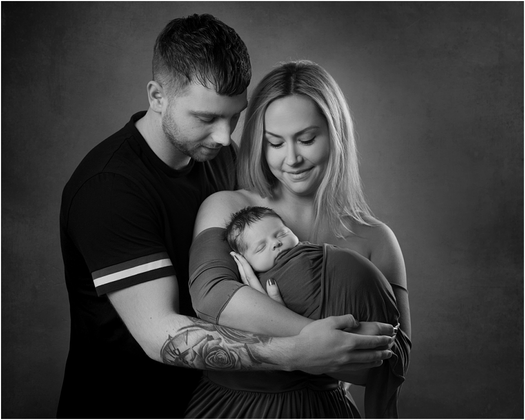 tiny baby studio newcastle newborn photographer parents together with their baby